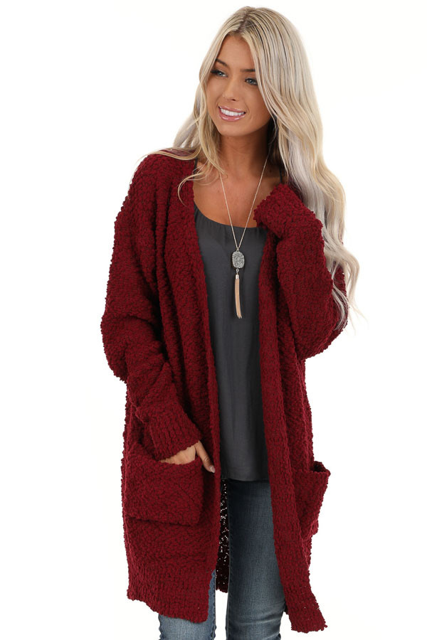 Sangria Popcorn Knit Long Sleeve Cardigan with Front Pockets front close up
