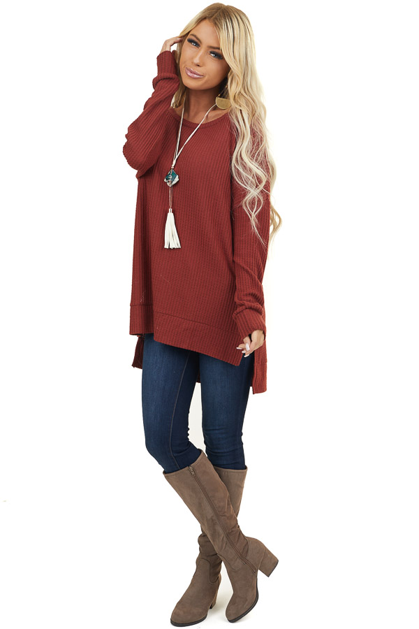 Brick Waffle Knit Long Sleeve Top with Side Slits