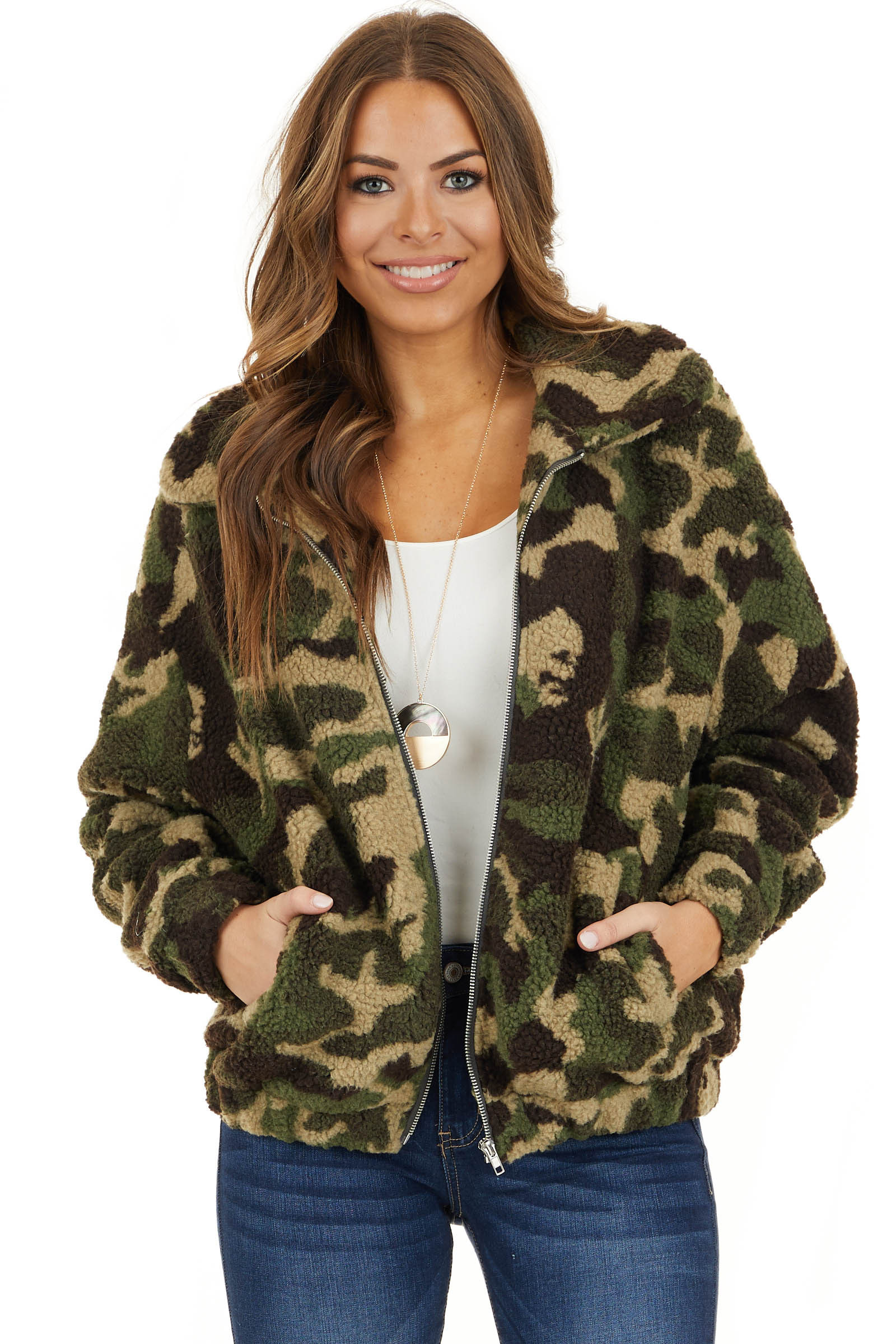Olive Green and Khaki Camo Fleece Jacket front close up