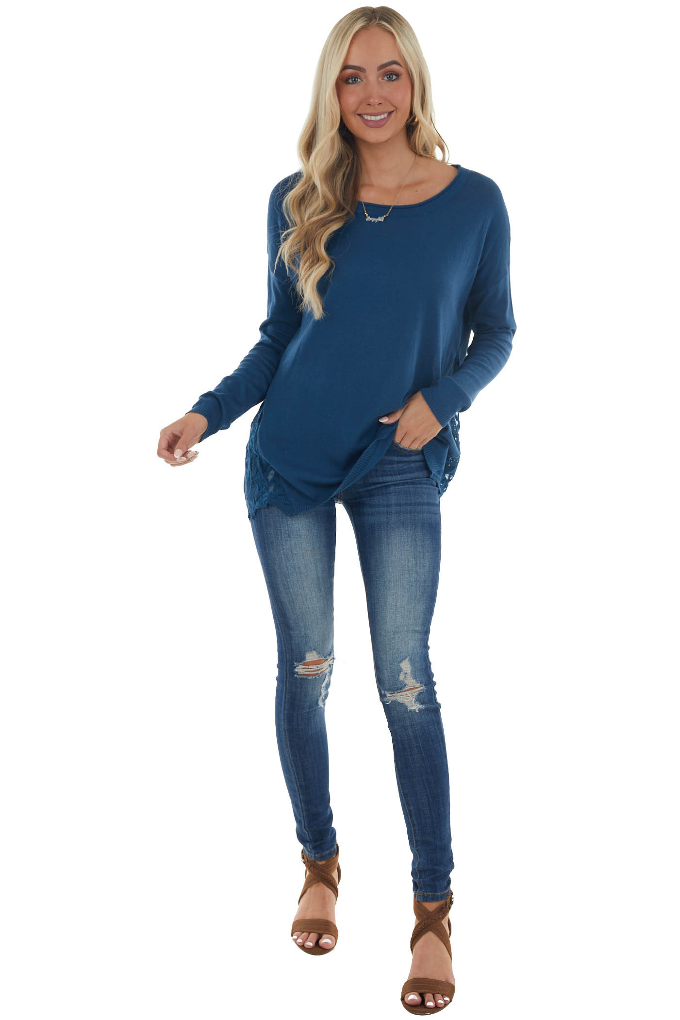 Dark Blue Long Sleeve Top with Side Lace Panels
