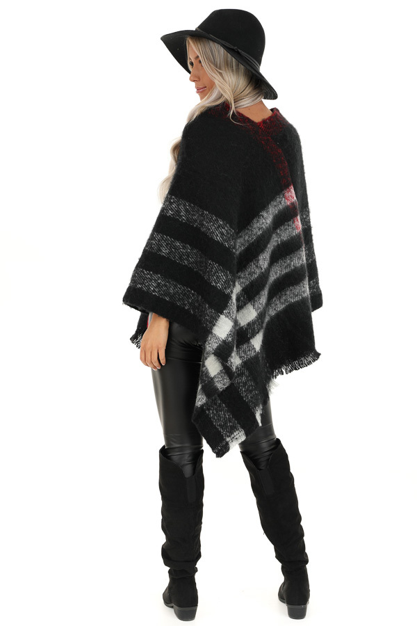 Black and White Checker Print Poncho with Frayed Edge back full body