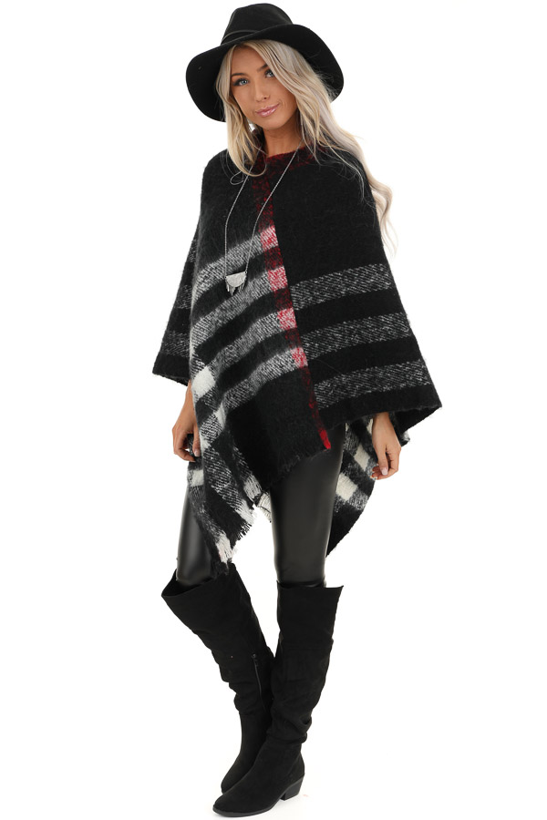 Black and White Checker Print Poncho with Frayed Edge front full body