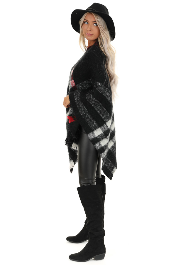 Black and White Checker Print Poncho with Frayed Edge side full body
