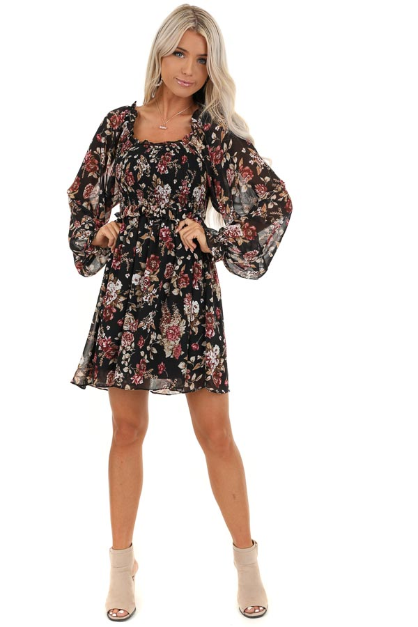 Black Floral Mini Dress with Long Sleeves and Ruffle Details front full body