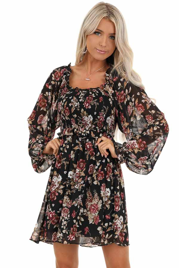 Black Floral Mini Dress with Long Sleeves and Ruffle Details front close up