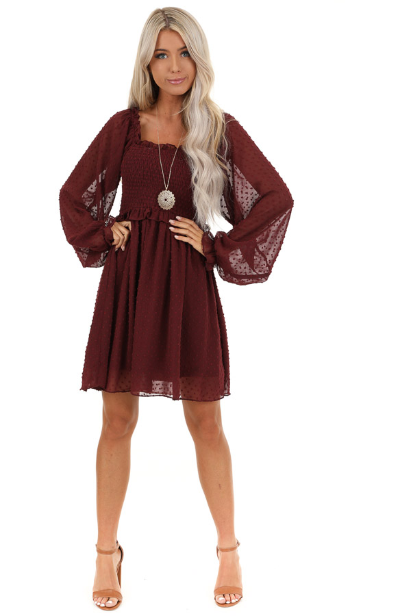 Burgundy Mini Dress with Long Sleeves and Ruffle Details front full body
