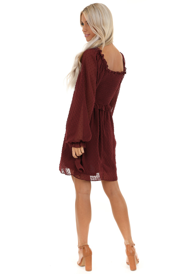 Burgundy Mini Dress with Long Sleeves and Ruffle Details back full body
