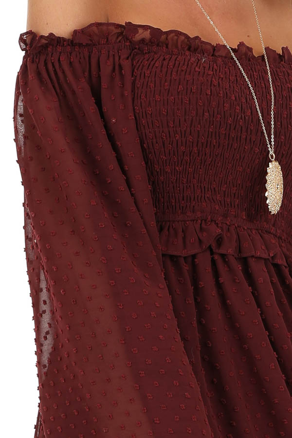 Burgundy Mini Dress with Long Sleeves and Ruffle Details detail