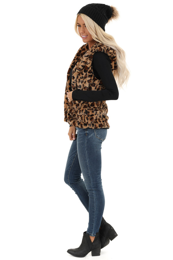 Caramel Leopard Print Faux Fur Hooded Vest with Pockets side full body