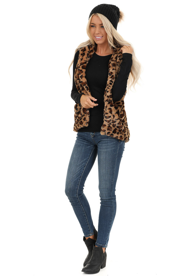 Caramel Leopard Print Faux Fur Hooded Vest with Pockets front full body