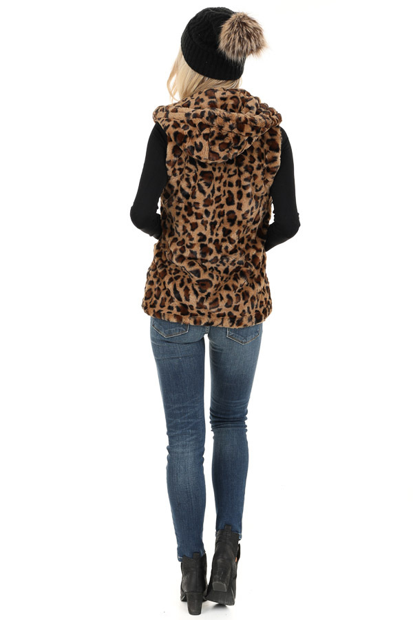 Caramel Leopard Print Faux Fur Hooded Vest with Pockets back full body