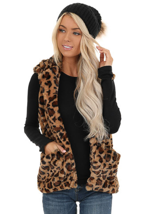 Caramel Leopard Print Faux Fur Hooded Vest with Pockets front close up