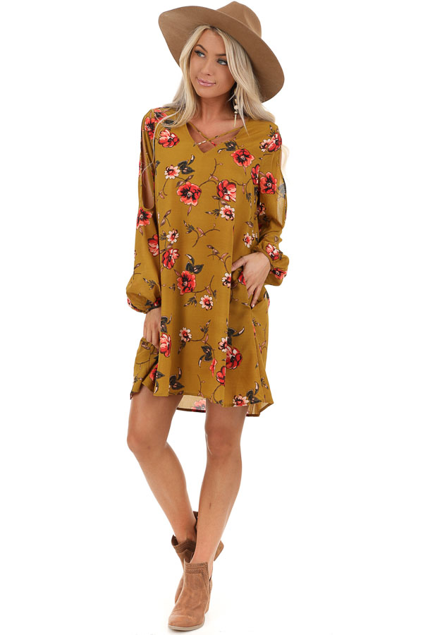Brass Floral Print Cold Shoulder Dress with Cross Neckline front full body