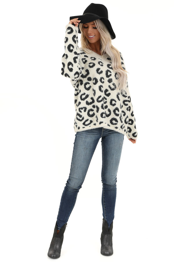 Ivory Leopard Print V Neck Loose Fit Soft Sweater front full body