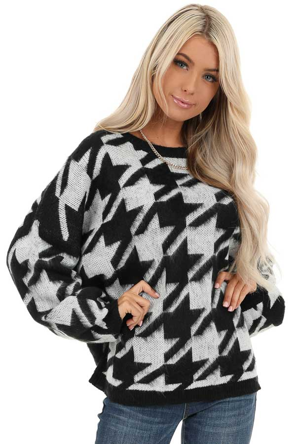 Off White and Black Houndstooth Sweater with Long Sleeves front close up