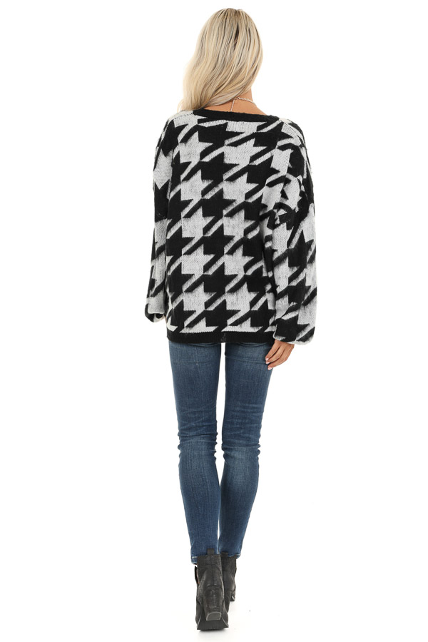 Off White and Black Houndstooth Sweater with Long Sleeves back full body