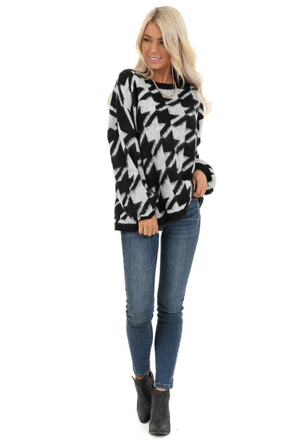 Off White and Black Houndstooth Sweater with Long Sleeves front full body