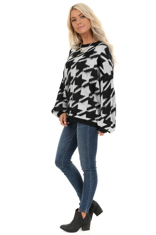 Off White and Black Houndstooth Sweater with Long Sleeves side full body