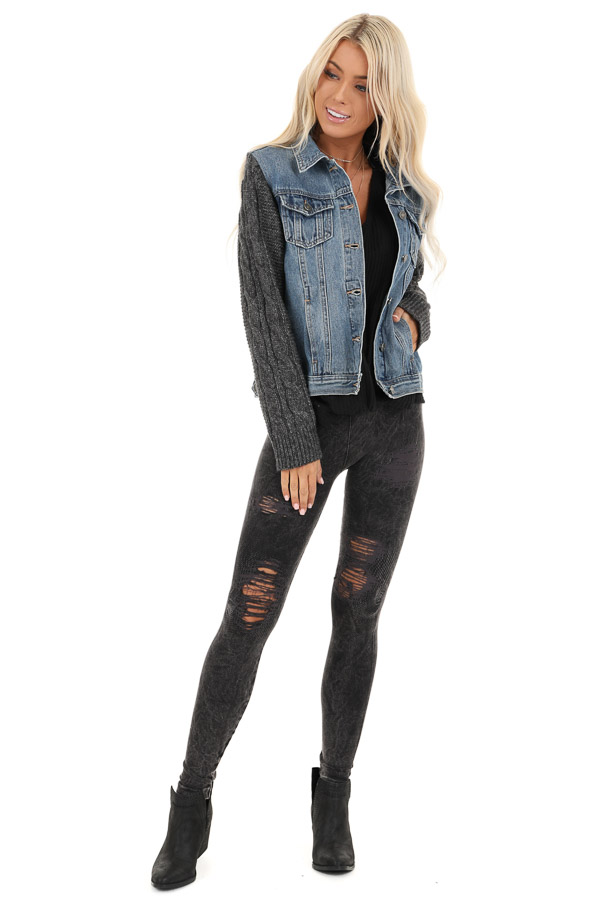 Medium Wash Denim Jacket with Charcoal Knit Sleeves front full body