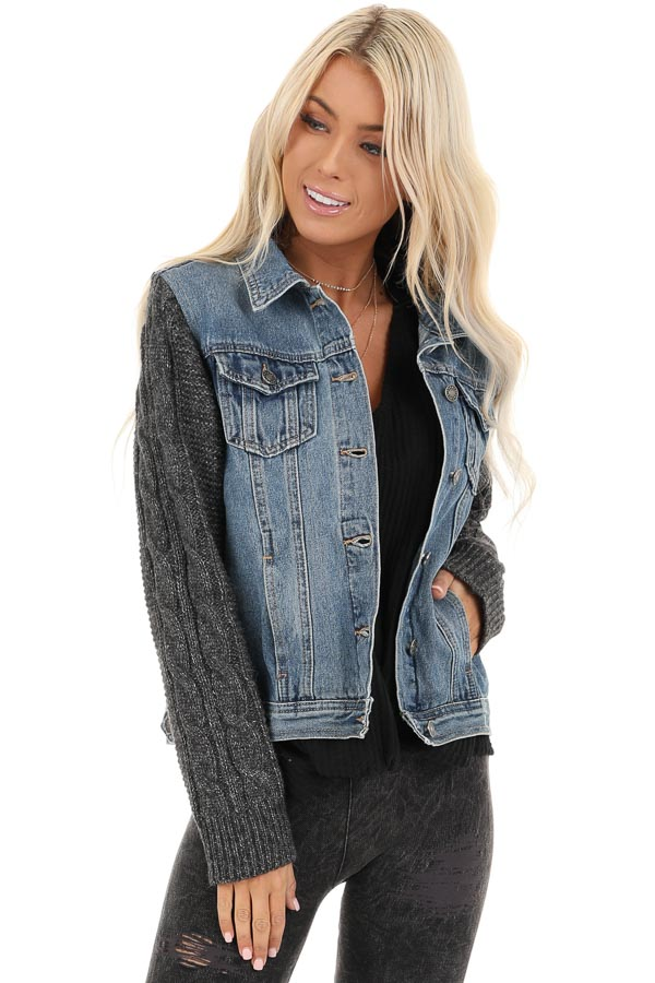 Medium Wash Denim Jacket with Charcoal Knit Sleeves front close up