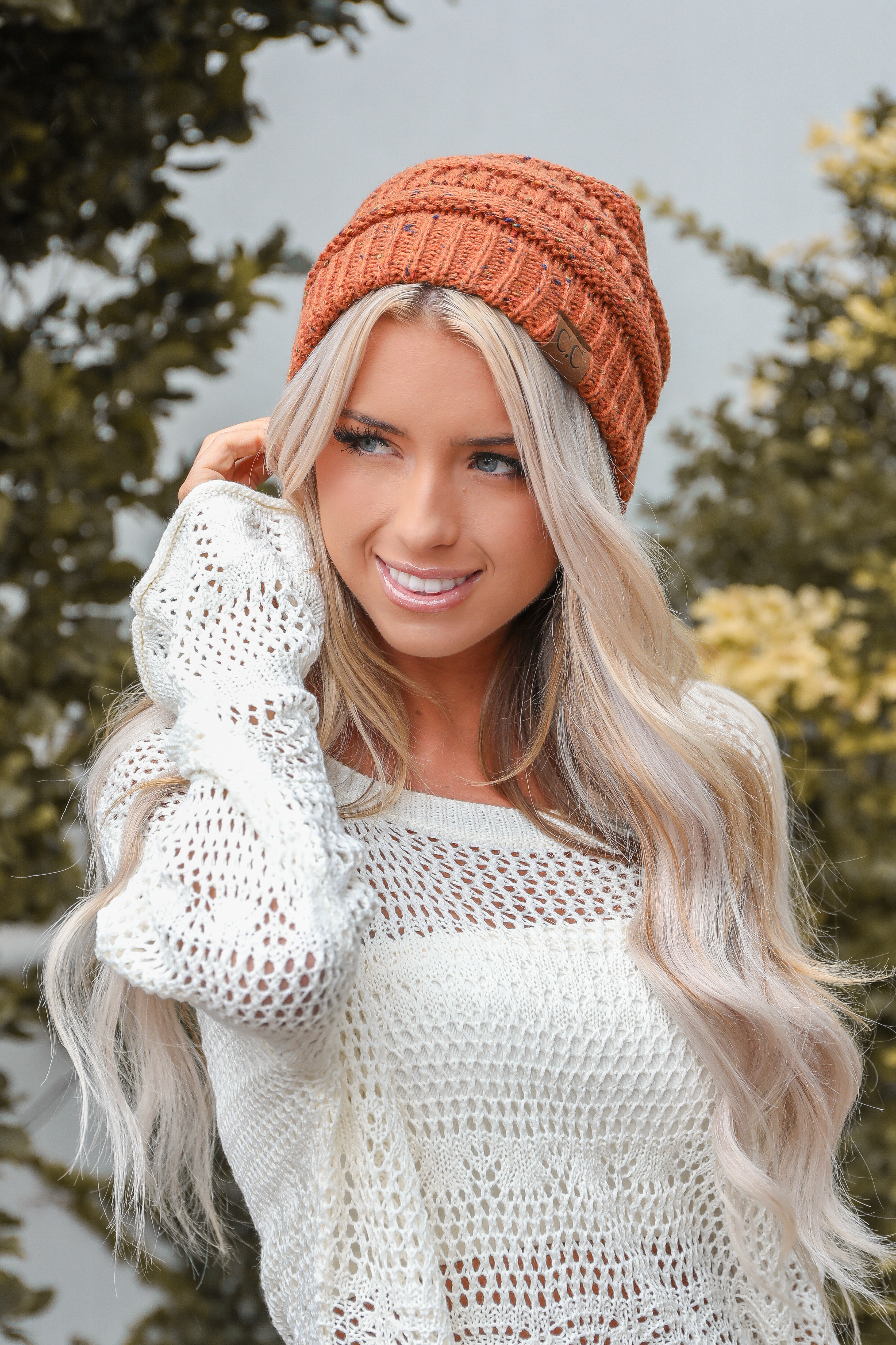 Burnt Orange Confetti Chunky Knit Beanie front view