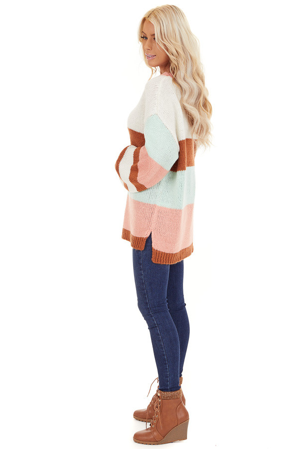 Pink Rose and Mint Color Block Oversized Long Sleeve Sweater side full body
