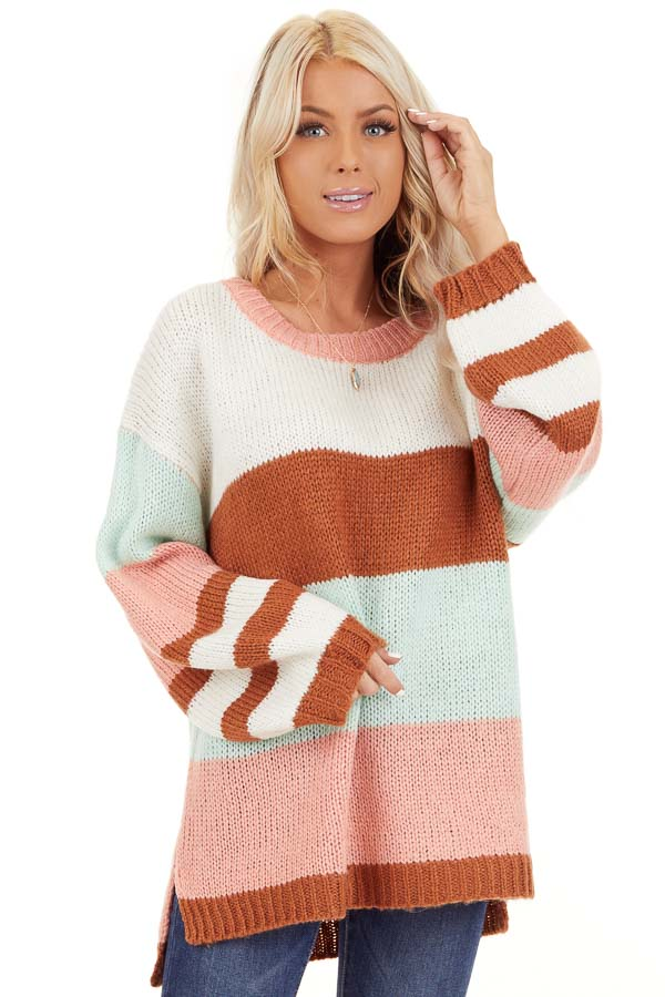 Pink Rose and Mint Color Block Oversized Long Sleeve Sweater front close up