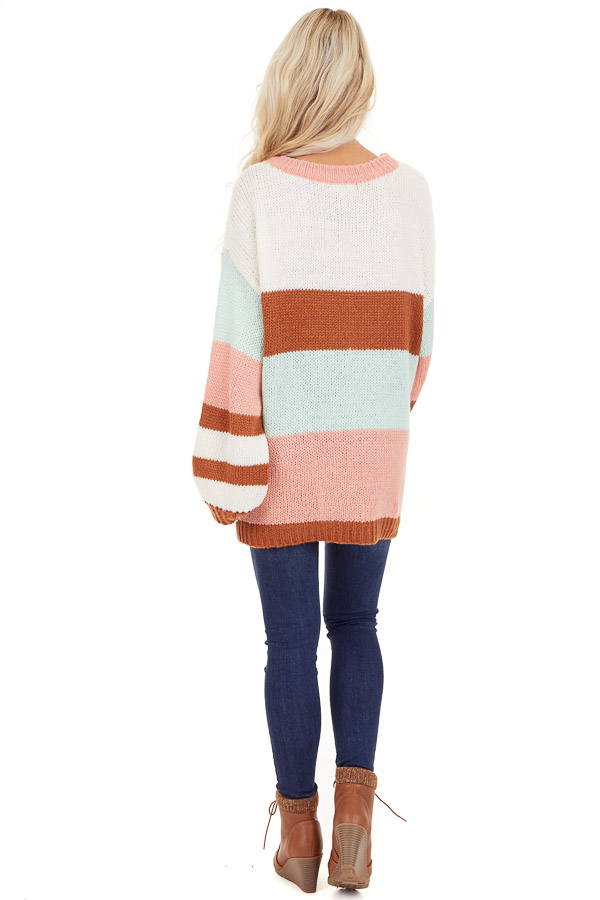 Pink Rose and Mint Color Block Oversized Long Sleeve Sweater back full body