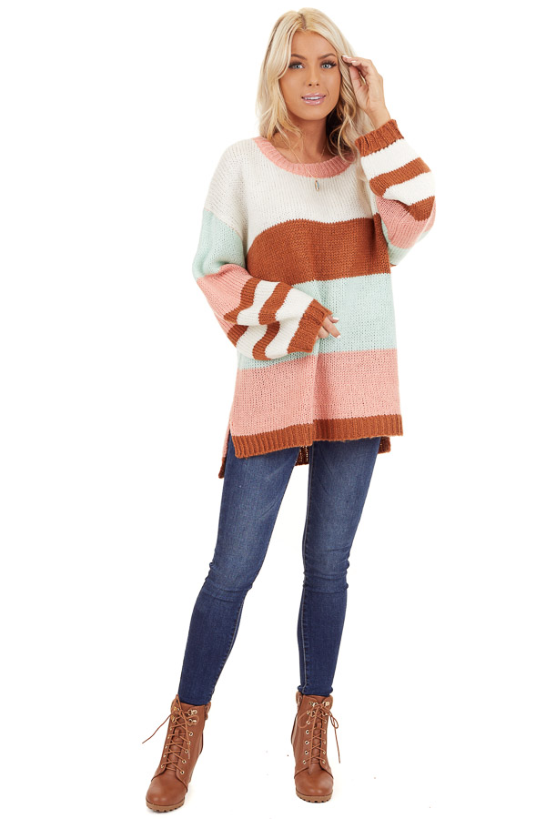 Pink Rose and Mint Color Block Oversized Long Sleeve Sweater front full body