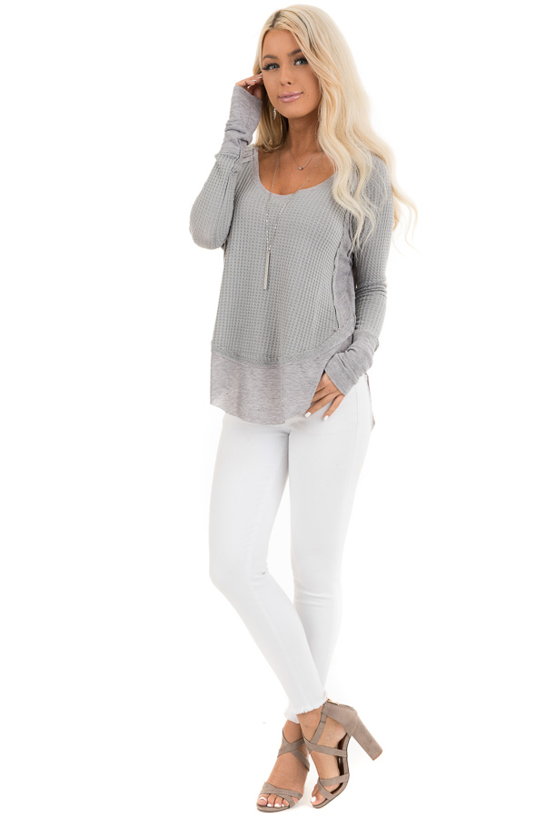 Heather Grey Knit Top with Long Sleeves and Ribbed Contrast front full body