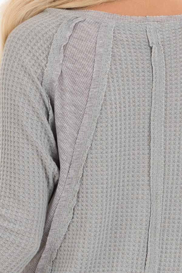 Heather Grey Knit Top with Long Sleeves and Ribbed Contrast detail