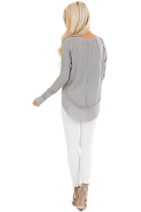 Heather Grey Knit Top with Long Sleeves and Ribbed Contrast back full body
