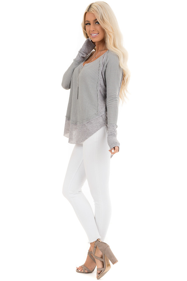 Heather Grey Knit Top with Long Sleeves and Ribbed Contrast side full body