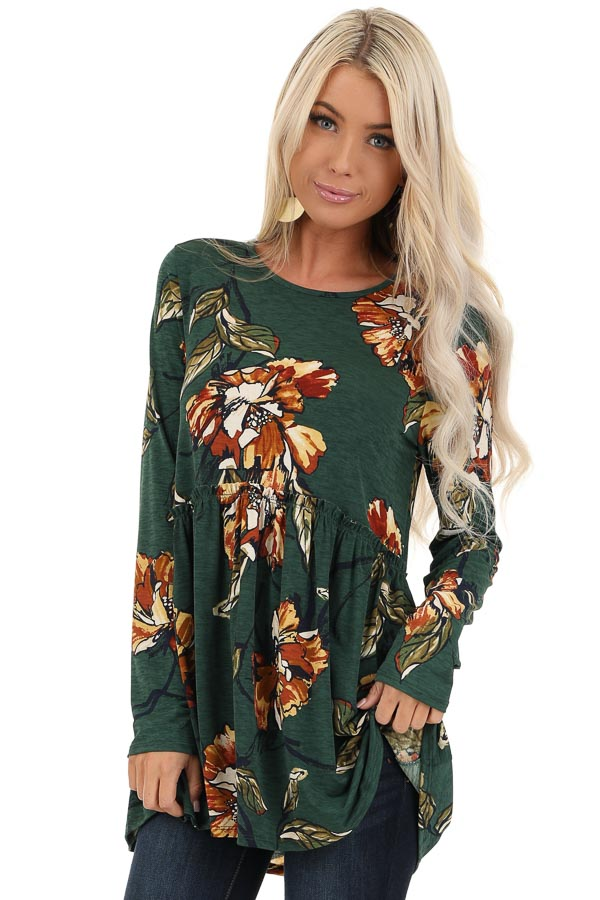 Forest Green with Rust Floral Print Babydoll Top front close up