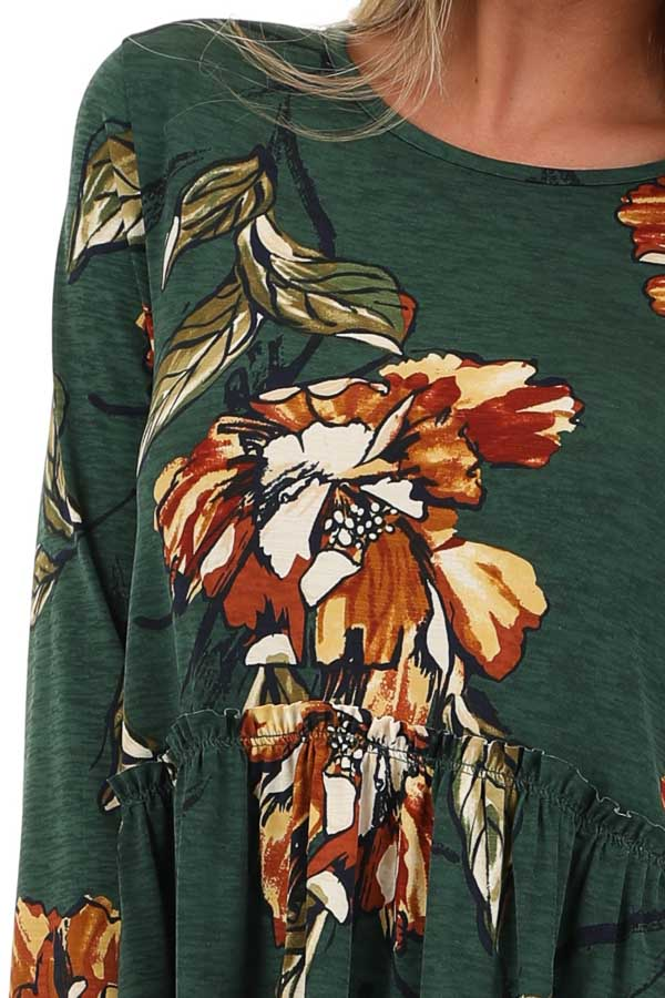Forest Green with Rust Floral Print Babydoll Top detail
