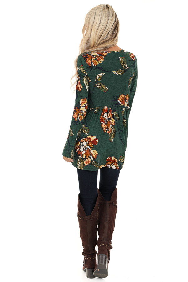 Forest Green with Rust Floral Print Babydoll Top back full body