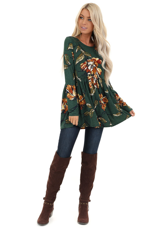 Forest Green with Rust Floral Print Babydoll Top front full body