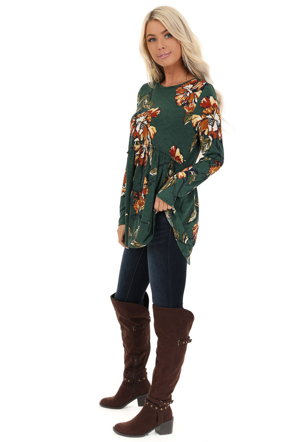 Forest Green with Rust Floral Print Babydoll Top side full body