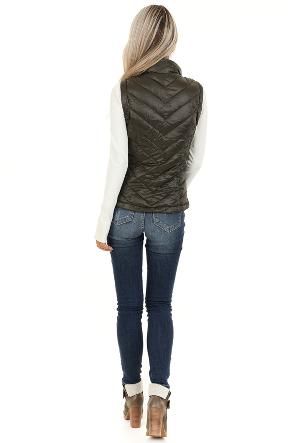Olive Green Lightweight Vest with Ribbed Knit Contrast back full body