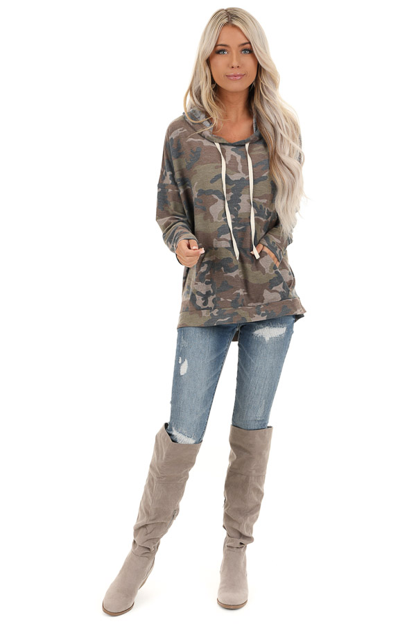 Taupe Camo Pullover Hoodie with Kangaroo Pocket front full body
