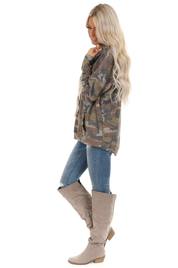 Taupe Camo Pullover Hoodie with Kangaroo Pocket side full body