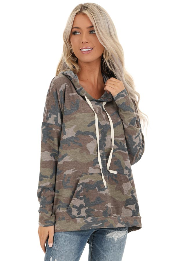 Taupe Camo Pullover Hoodie with Kangaroo Pocket front close up