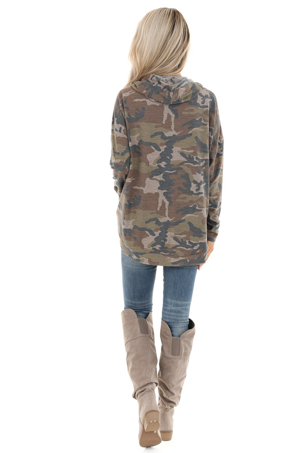 Taupe Camo Pullover Hoodie with Kangaroo Pocket back full body