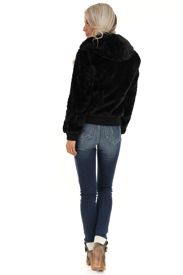 Midnight Black Fully Lined Faux Fur Coat with Hood Detail back full body