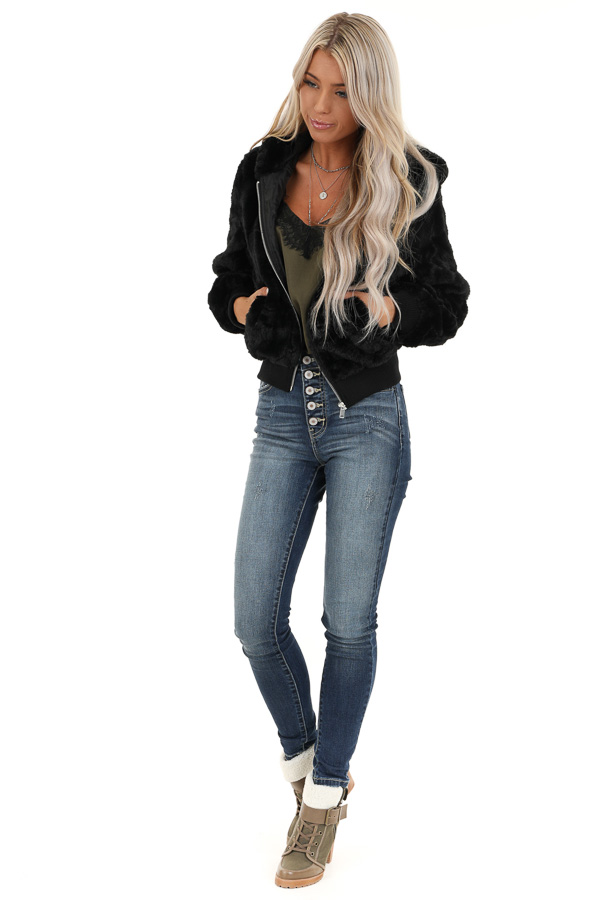 Midnight Black Fully Lined Faux Fur Coat with Hood Detail front full body