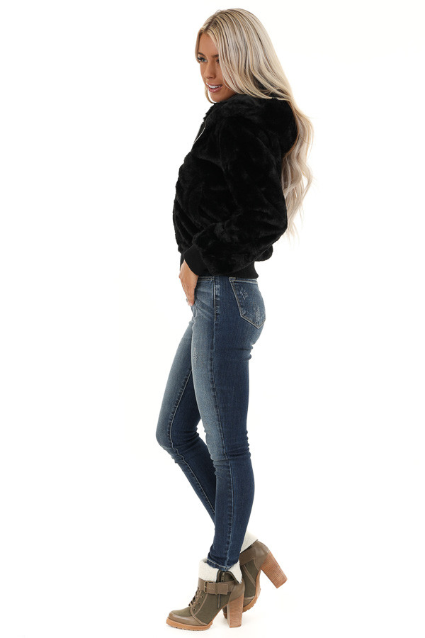 Midnight Black Fully Lined Faux Fur Coat with Hood Detail side full body
