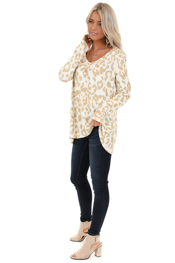 Ivory and Taupe Animal Print V Neck Top with Long Sleeves side full body