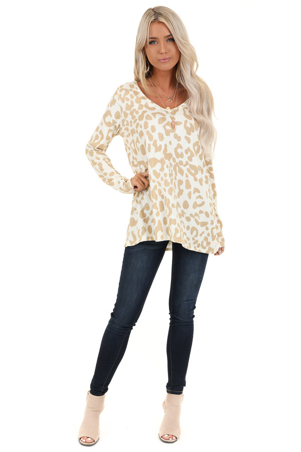 Ivory and Taupe Animal Print V Neck Top with Long Sleeves front full body