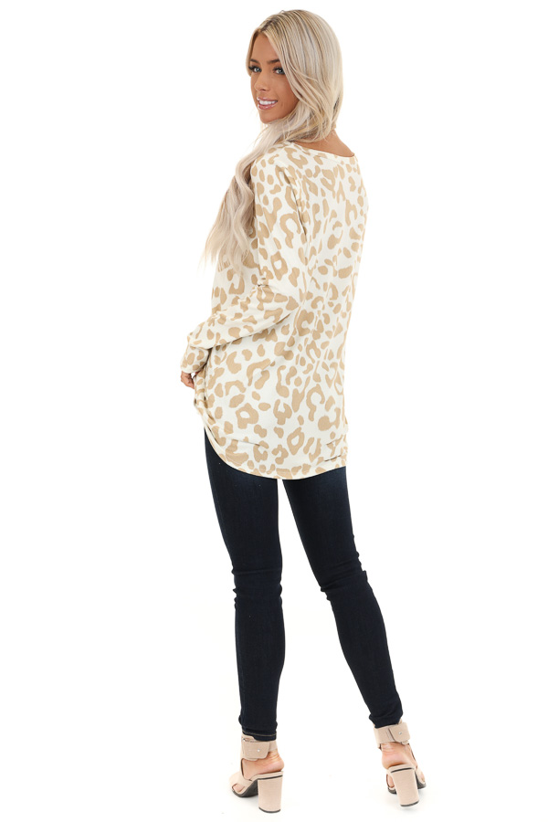 Ivory and Taupe Animal Print V Neck Top with Long Sleeves back full body