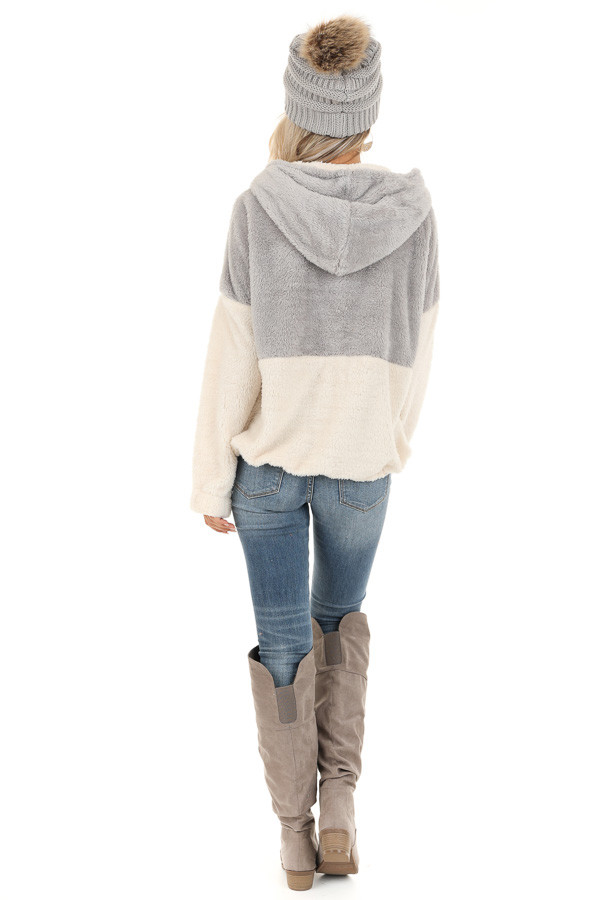 Grey and Ivory Super Soft Hoodie with Front Half Zipper back full body
